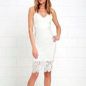 Lulus M Lace midi dress white ivory eyelet sexy